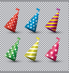 party hat isolated set on transparent background vector image