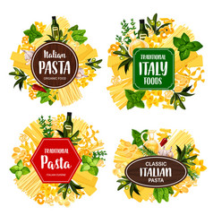 Pasta spaghetti macarroni italian spices herbs vector