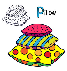 Pillow coloring book page for children cartoon vector