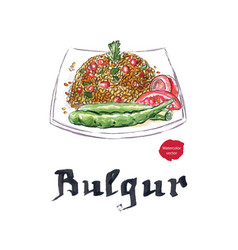 Plate of bulgur with peppers tomatoes vector