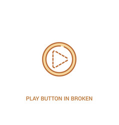 Play button in broken line concept 2 colored icon vector