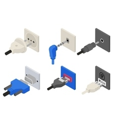 Plugs icons isometric 3d vector