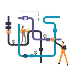 plumbers professional workmen dealing with vector image