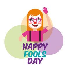 Portrait woman clown mask celebration fools day vector