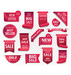 Price tags red ribbon banners sale promotion we vector