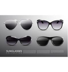 realistic fashionable sunglasses set vector image