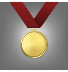 realistic golden award medal with red vector image