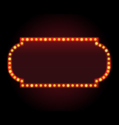 Rectangle theater sign frame with lights vector