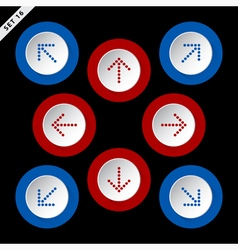 red and blue arrows eight directions vector image