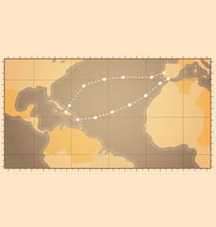 Retro world map with columbus route happy colombo vector