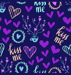 romantic doodle pattern with hearts-04 vector image