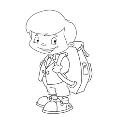 Schoolboy set outlined vector