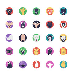 Sea life and animals flat icons collection vector