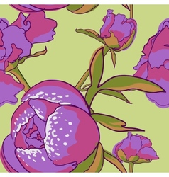 Seamless floral background with peonies vector image