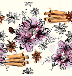 seamless pattern with flowers and anise stars vector image