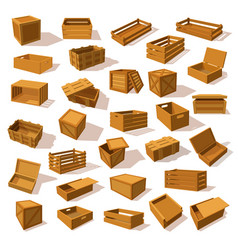 set isolated isometric wood boxes containers vector image