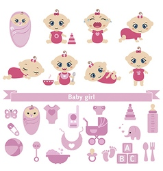 Set of cute baby girls vector