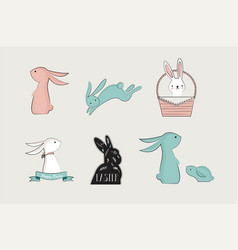 set of cute bunnies vector image