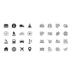 set of navigation and gps icons vector image