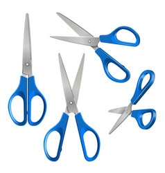 set scissors with blue plastic handles open vector image