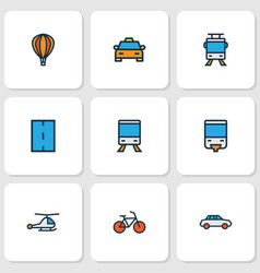 Shipment icons colored line set with monorail vector