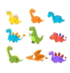 Small Colourful Dinosaur Set Collection vector image