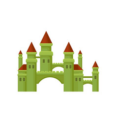 Small medieval castle green fortress with brown vector