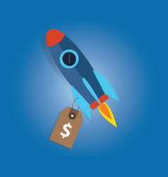 Start-up company valuation price sell rocket vector