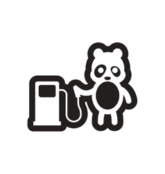 Style black and white icon Panda worker refueling vector