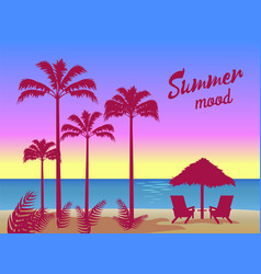 Summer mood poster palm trees umbrella two chaise vector