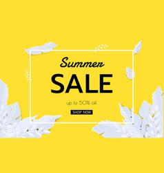 summer tropical leaf banner sale seasonal design vector image