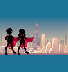 super kids city silhouette vector image