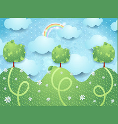 Surreal landscape with trees vector