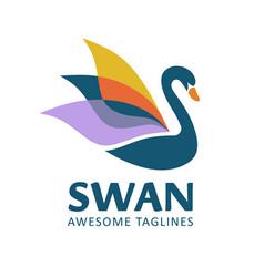 swan bird logo concept vector image