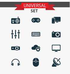 technology icons set with keyboard mouse vector image