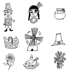 Thanksgiving object in doodle set vector
