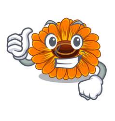 Thumbs up calendula flowers in a cartoon basket vector