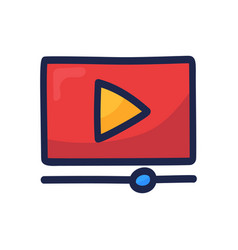 Video player play button simple outline color vector