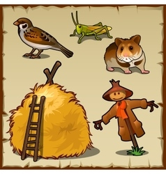 Village animals haystack and scary scarecrow vector