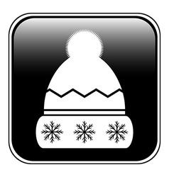 Winter hat symbol button vector image