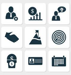 work icons set with remove worker brilliant idea vector image