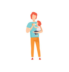 Young father feeding little bawith milk bottle vector