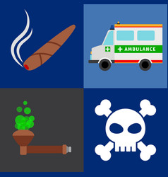 ambulance tobacco drugs death icons vector image vector image