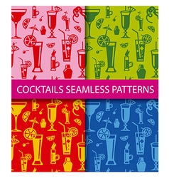 cocktails seamless patterns vector image vector image