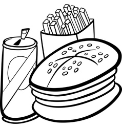 fast food cartoon for coloring book vector image