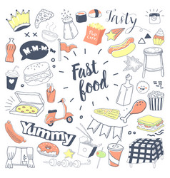 fast food hand drawn doodle with burger vector image