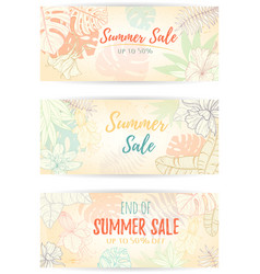 hand drawn tropical palm leaves banner vector image
