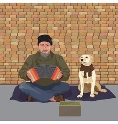 Homeless man with Dog Shaggy man in dirty rags vector image vector image