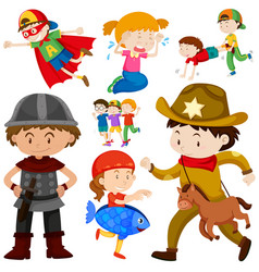 Kids in different costume vector