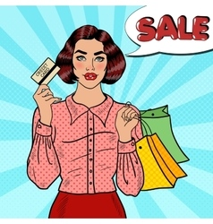 Pop Art Woman with Shopping Bags and Credit Card vector image vector image